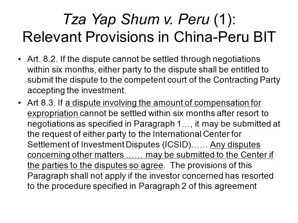 Tza Yap Shum v. Peru (1): Relevant Provisions in China-Peru BIT