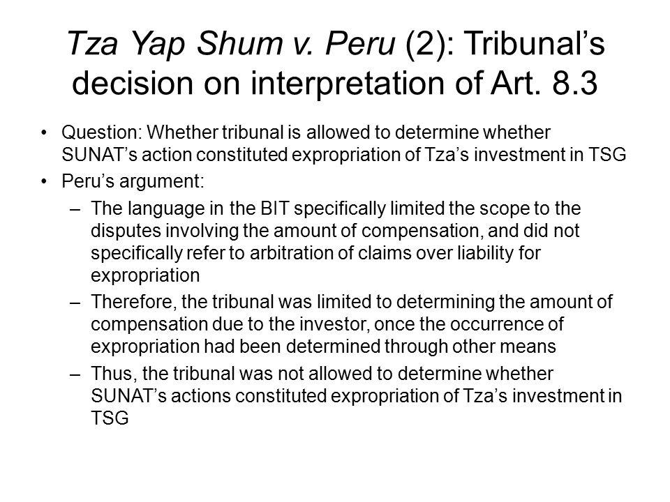 Tza Yap Shum v. Peru (2): Tribunal's decision on interpretation of Art