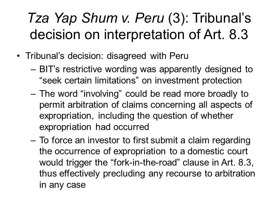 Tza Yap Shum v. Peru (3): Tribunal's decision on interpretation of Art