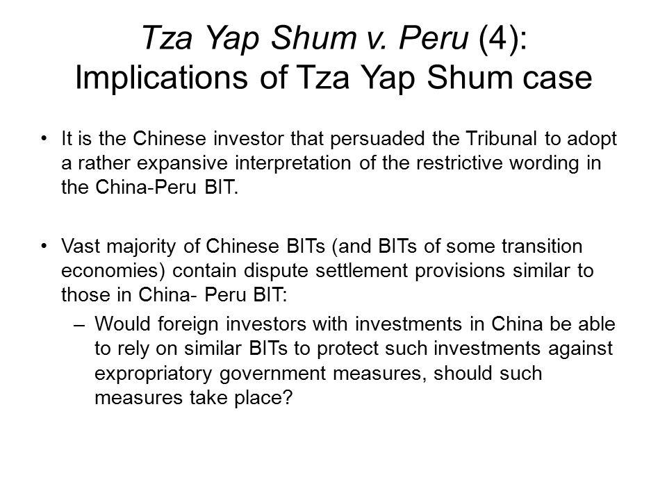 Tza Yap Shum v. Peru (4): Implications of Tza Yap Shum case