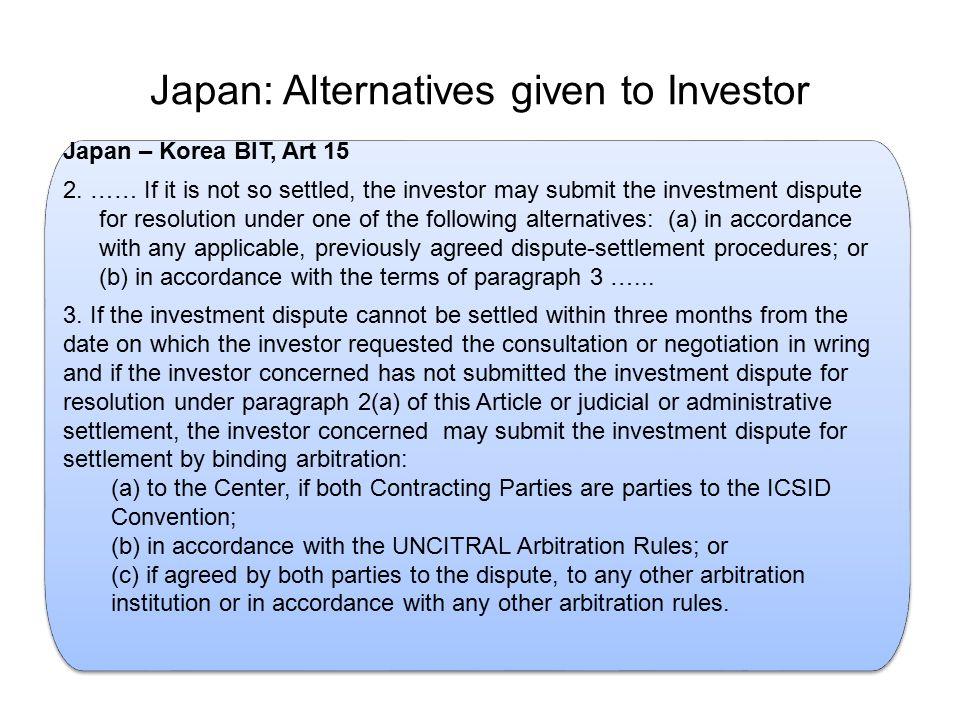 Japan: Alternatives given to Investor