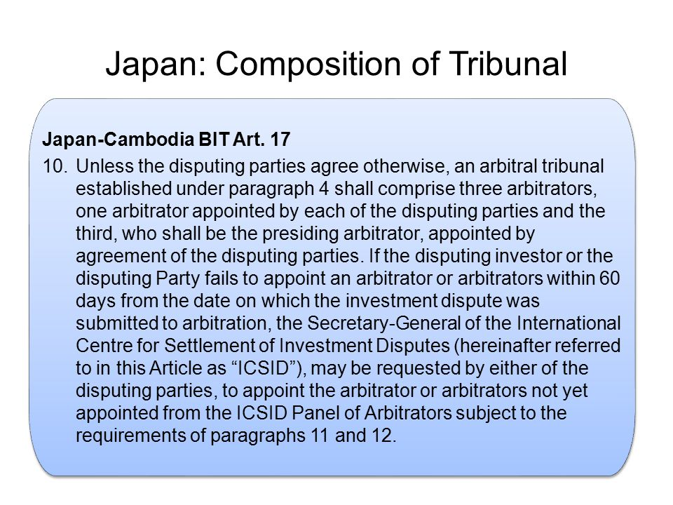 Japan: Composition of Tribunal