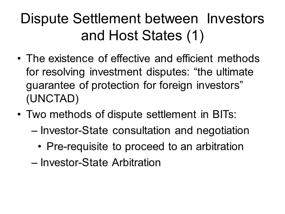 Dispute Settlement between Investors and Host States (1)