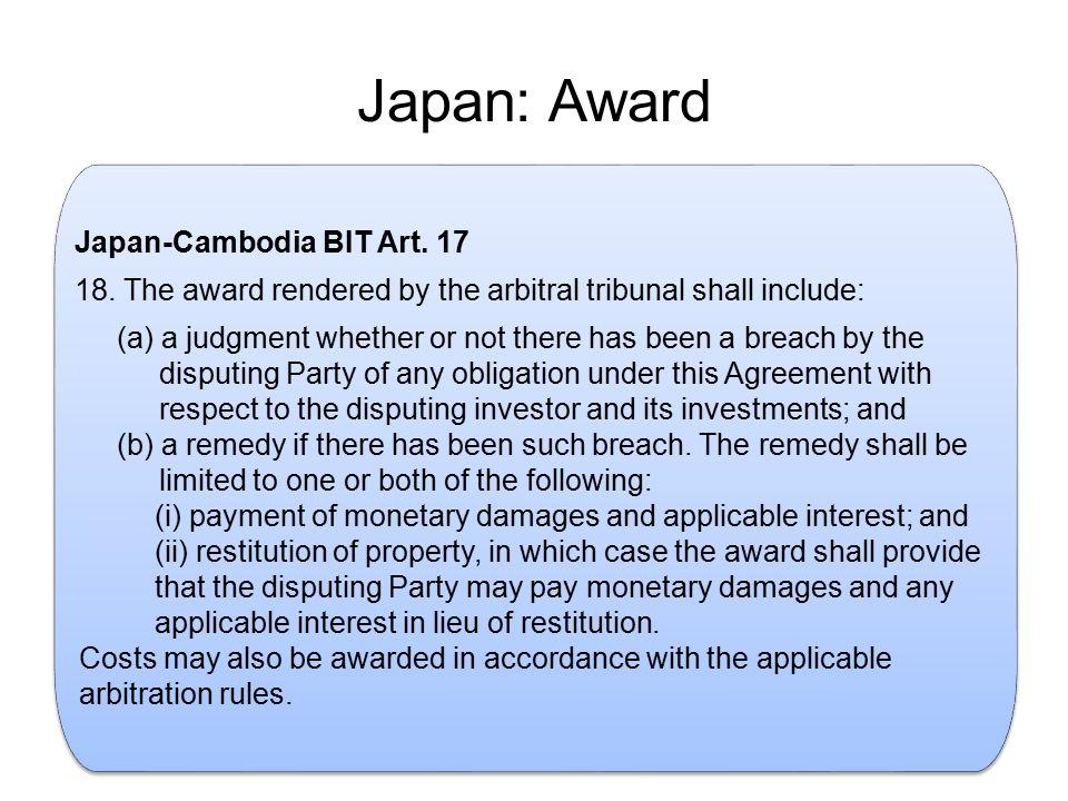 Japan: Award . Japan-Cambodia BIT Art. 17