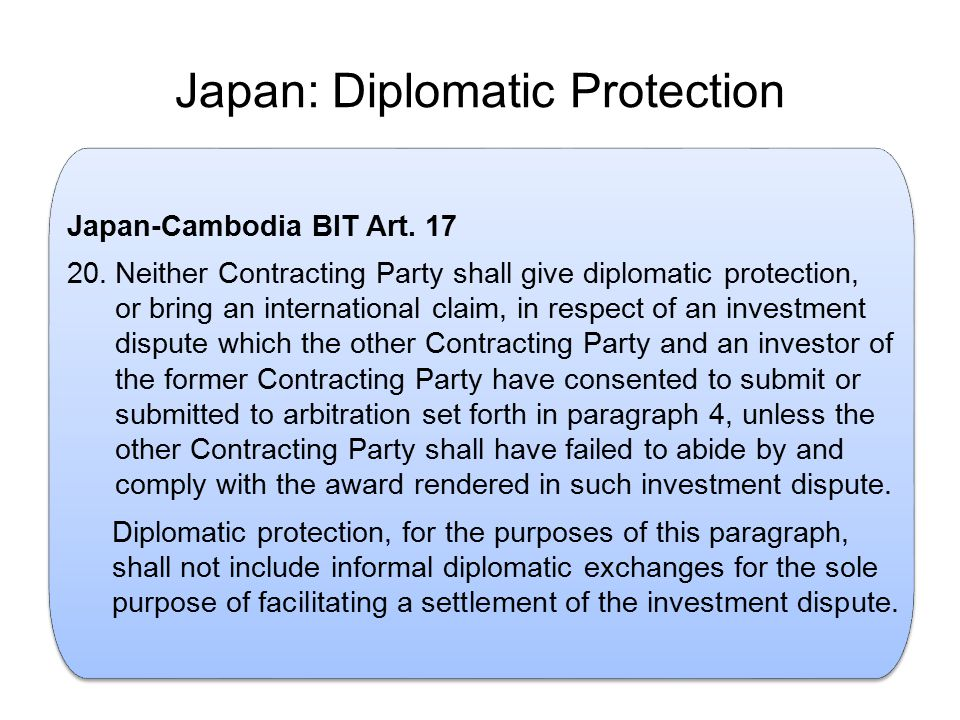 Japan: Diplomatic Protection