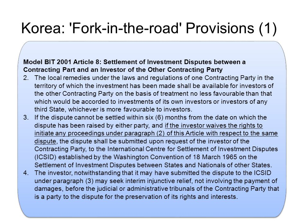 Korea: Fork-in-the-road Provisions (1)