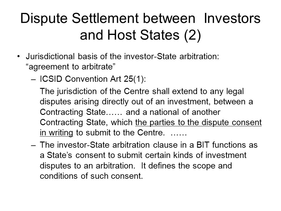 Dispute Settlement between Investors and Host States (2)