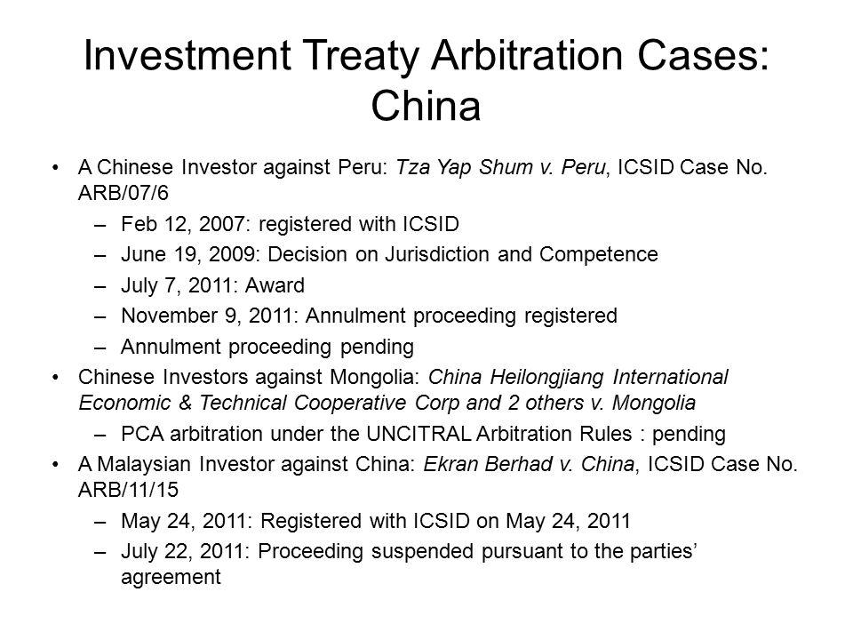 Investment Treaty Arbitration Cases: China