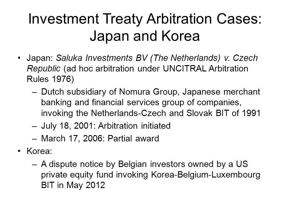 Investment Treaty Arbitration Cases: Japan and Korea