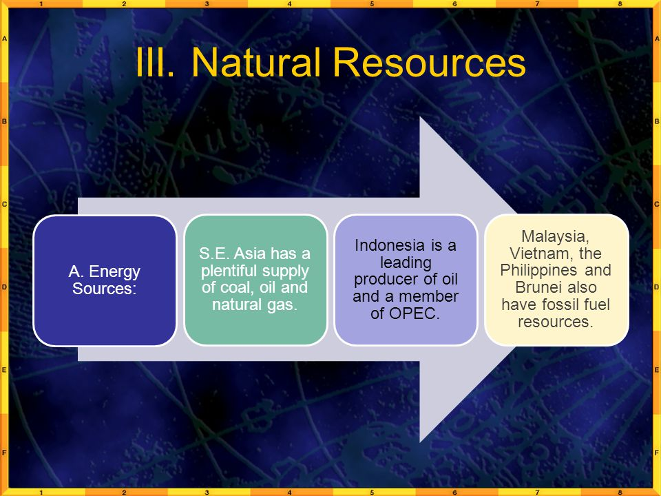III. Natural Resources A. Energy Sources: S.E. Asia has a plentiful supply of coal, oil and natural gas.