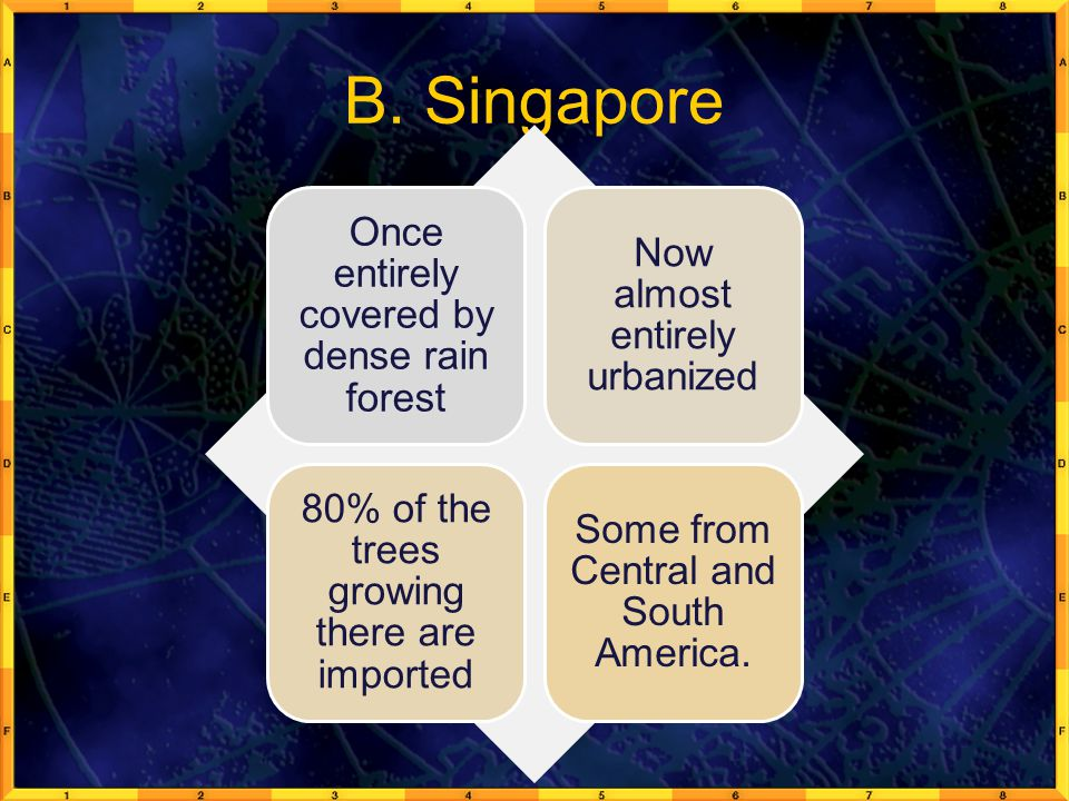 B. Singapore Once entirely covered by dense rain forest