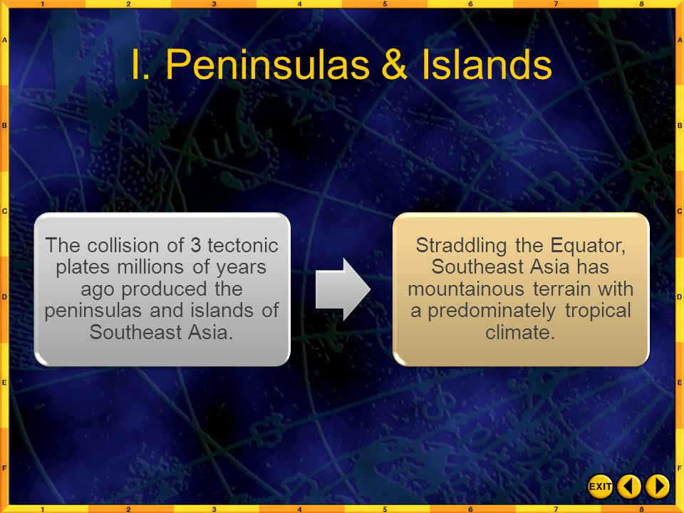 I. Peninsulas & Islands The collision of 3 tectonic plates millions of years ago produced the peninsulas and islands of Southeast Asia.