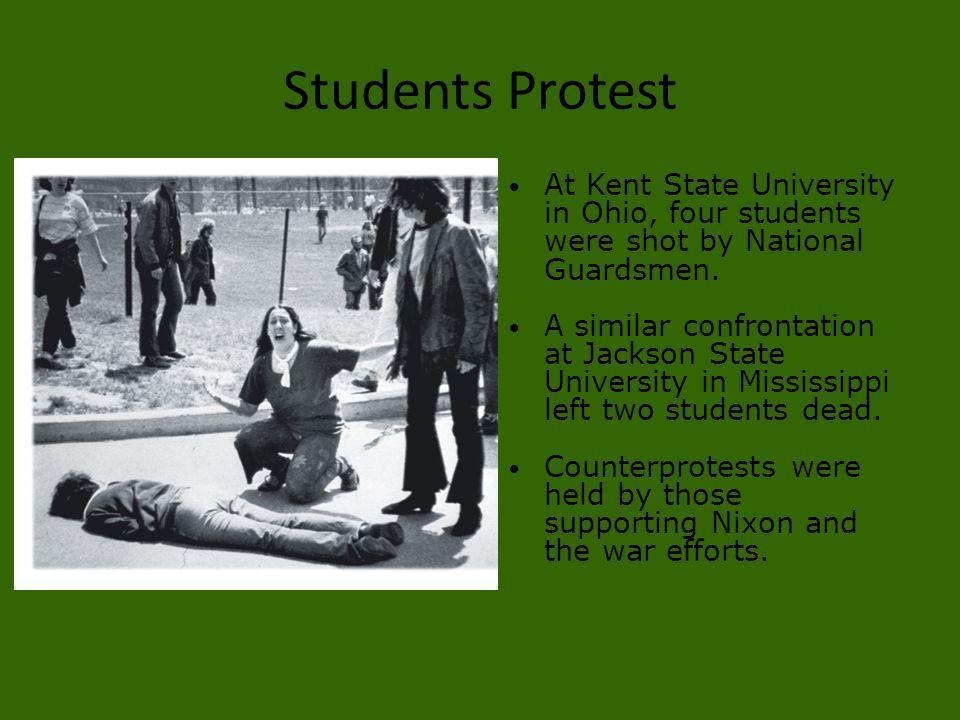 Students Protest At Kent State University in Ohio, four students were shot by National Guardsmen.