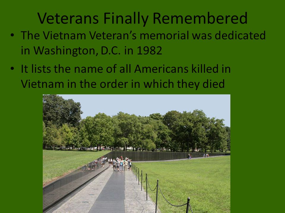 Veterans Finally Remembered