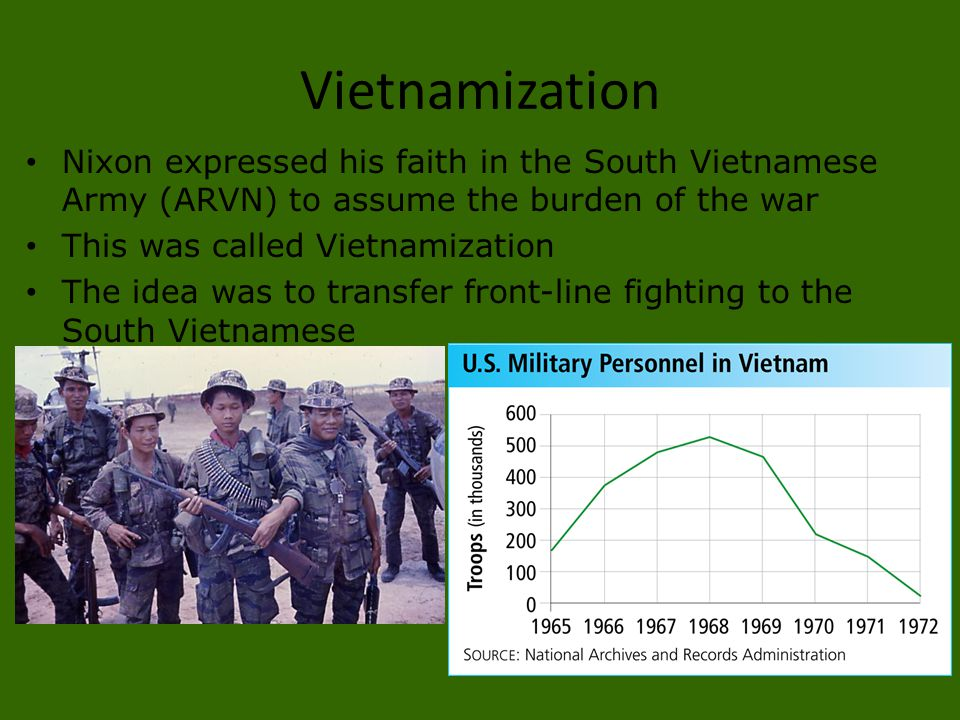 Vietnamization Nixon expressed his faith in the South Vietnamese Army (ARVN) to assume the burden of the war.