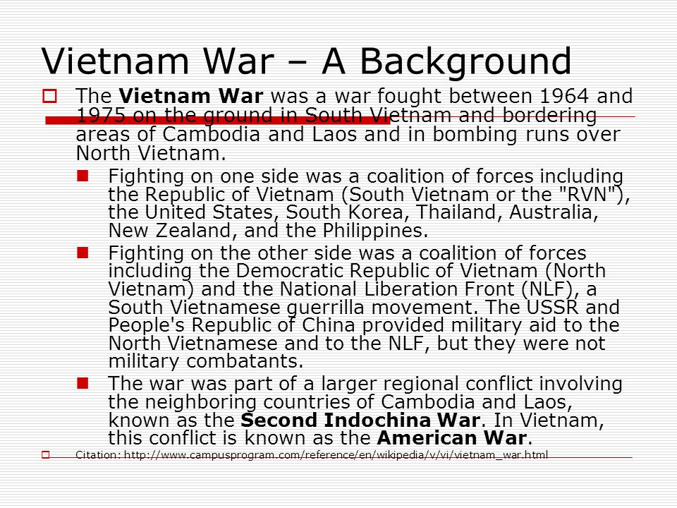 Vietnam War – A Background
