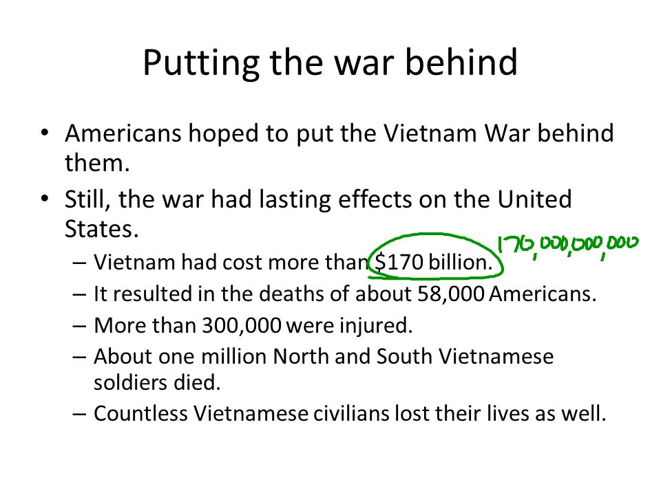 Putting the war behind Americans hoped to put the Vietnam War behind them. Still, the war had lasting effects on the United States.