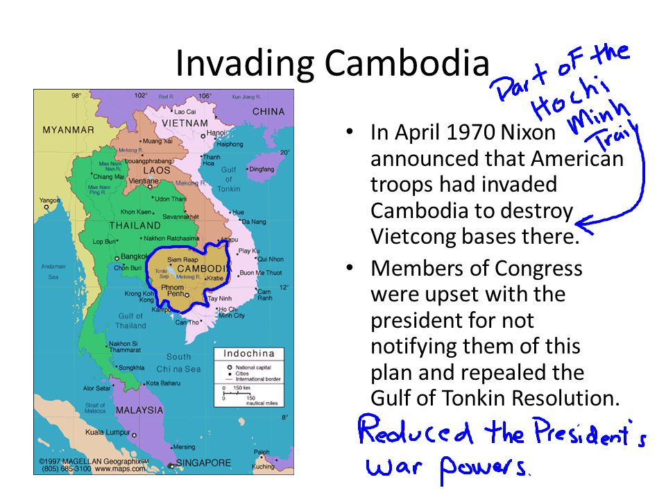 Invading Cambodia In April 1970 Nixon announced that American troops had invaded Cambodia to destroy Vietcong bases there.