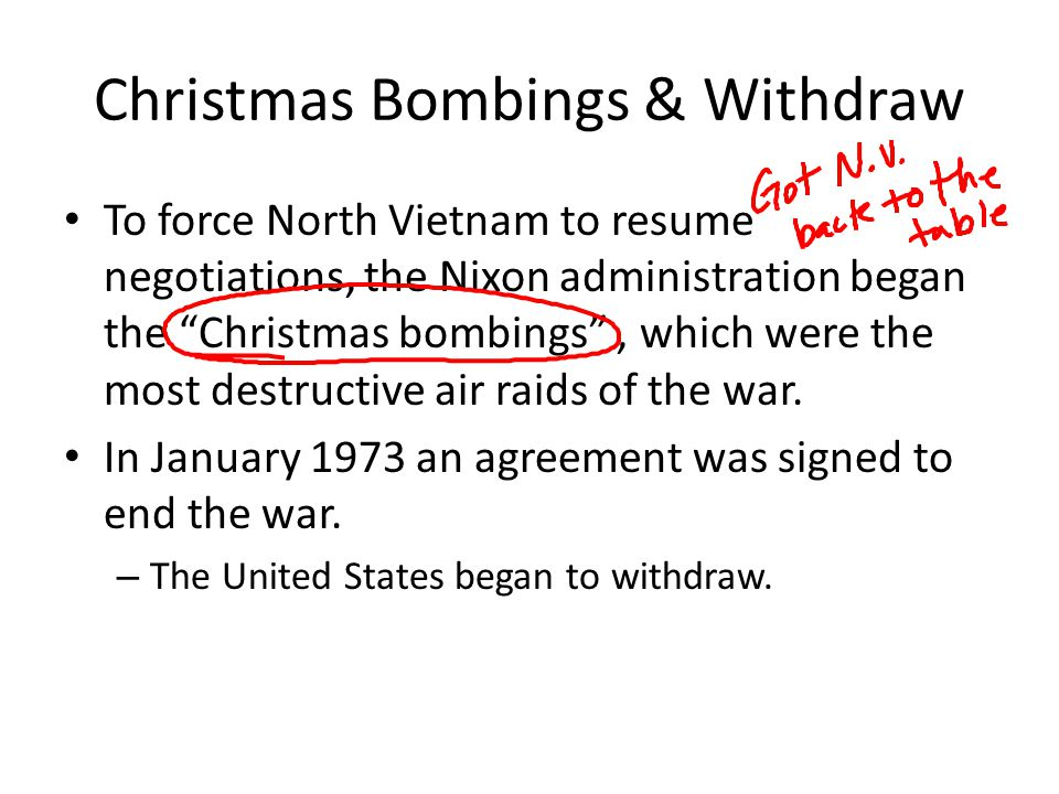 Christmas Bombings & Withdraw