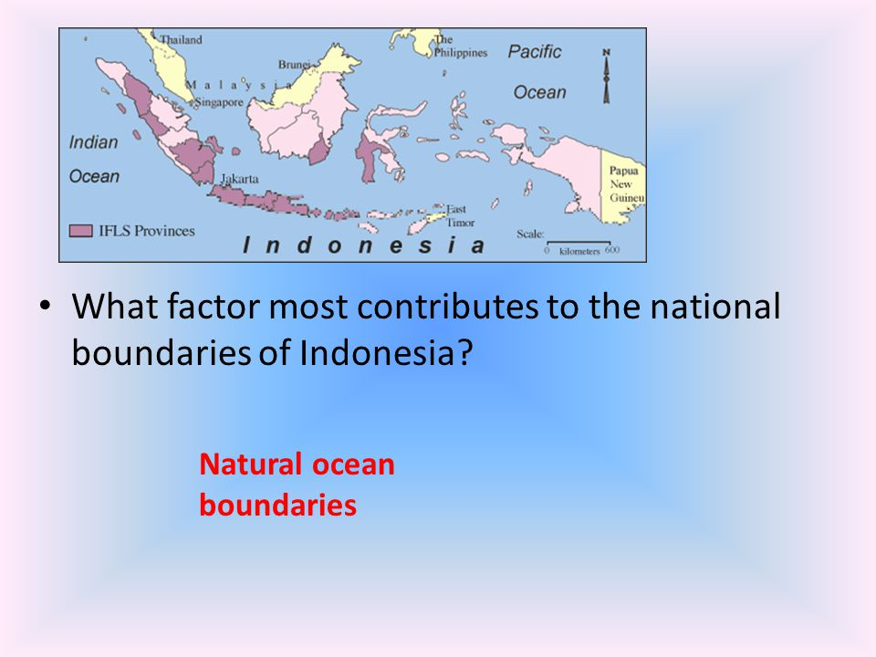 What factor most contributes to the national boundaries of Indonesia