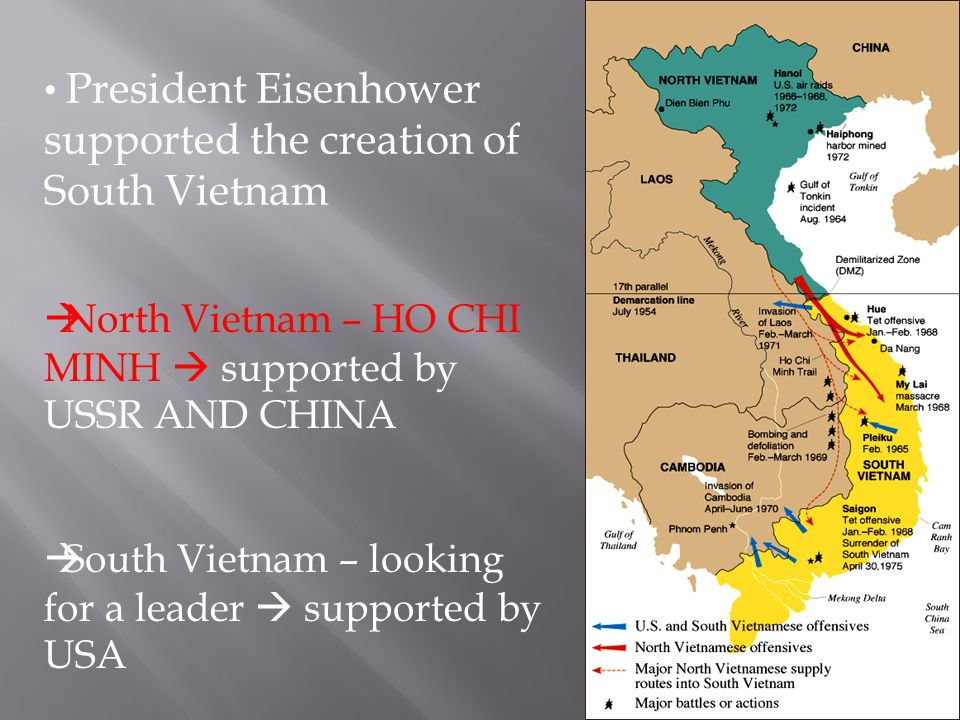 North Vietnam – HO CHI MINH  supported by USSR AND CHINA