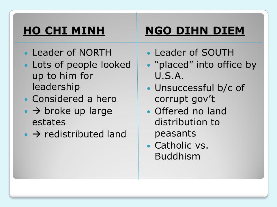 HO CHI MINH NGO DIHN DIEM Leader of NORTH