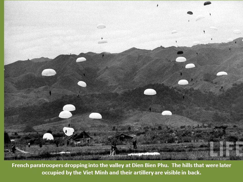 French paratroopers dropping into the valley at Dien Bien Phu