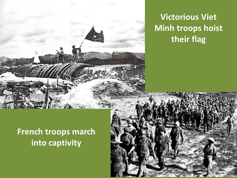 Victorious Viet Minh troops hoist their flag