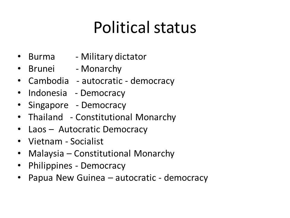Political status Burma - Military dictator Brunei - Monarchy