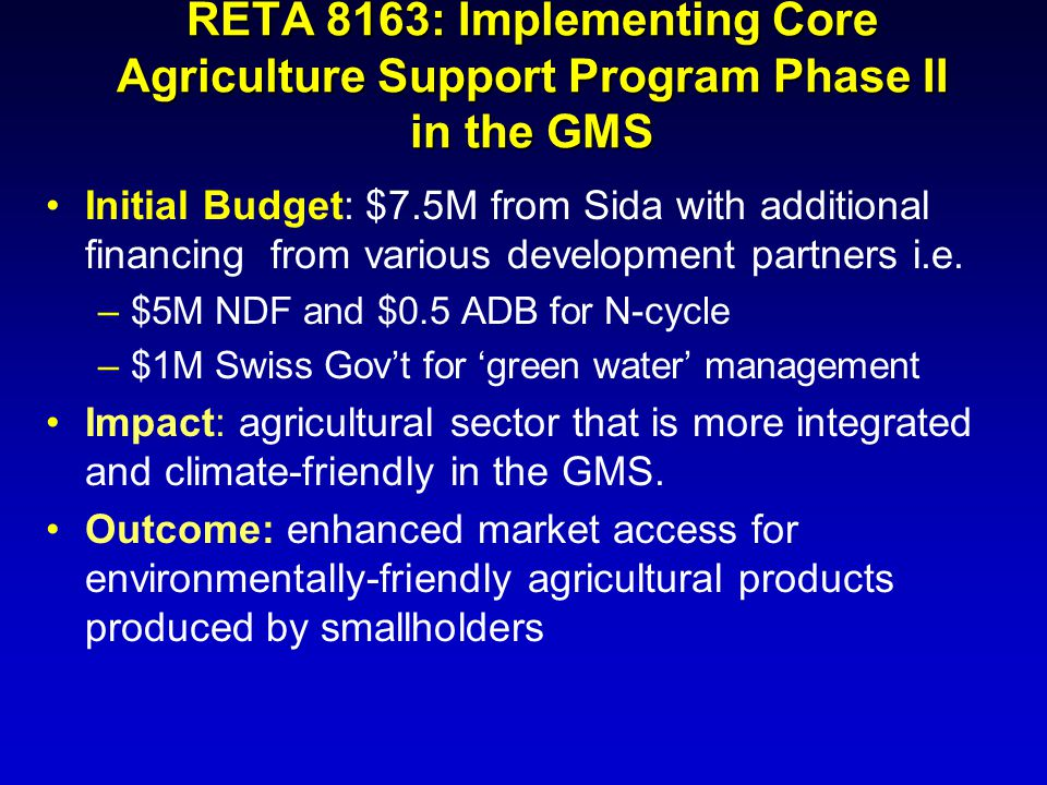 RETA 8163: Implementing Core Agriculture Support Program Phase II in the GMS