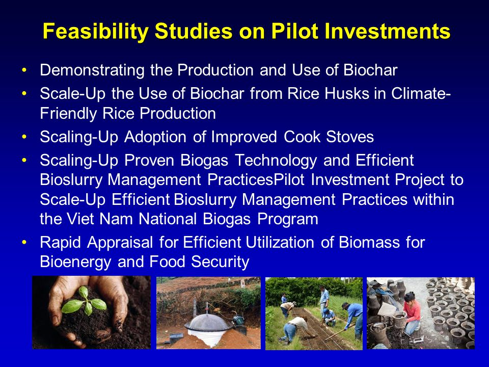 Feasibility Studies on Pilot Investments
