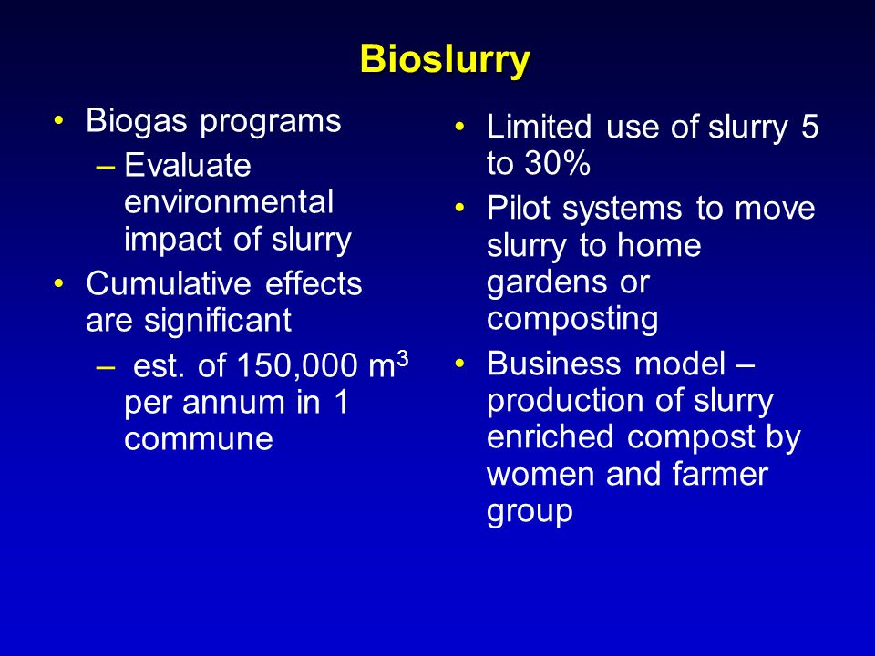 Bioslurry Biogas programs Limited use of slurry 5 to 30%