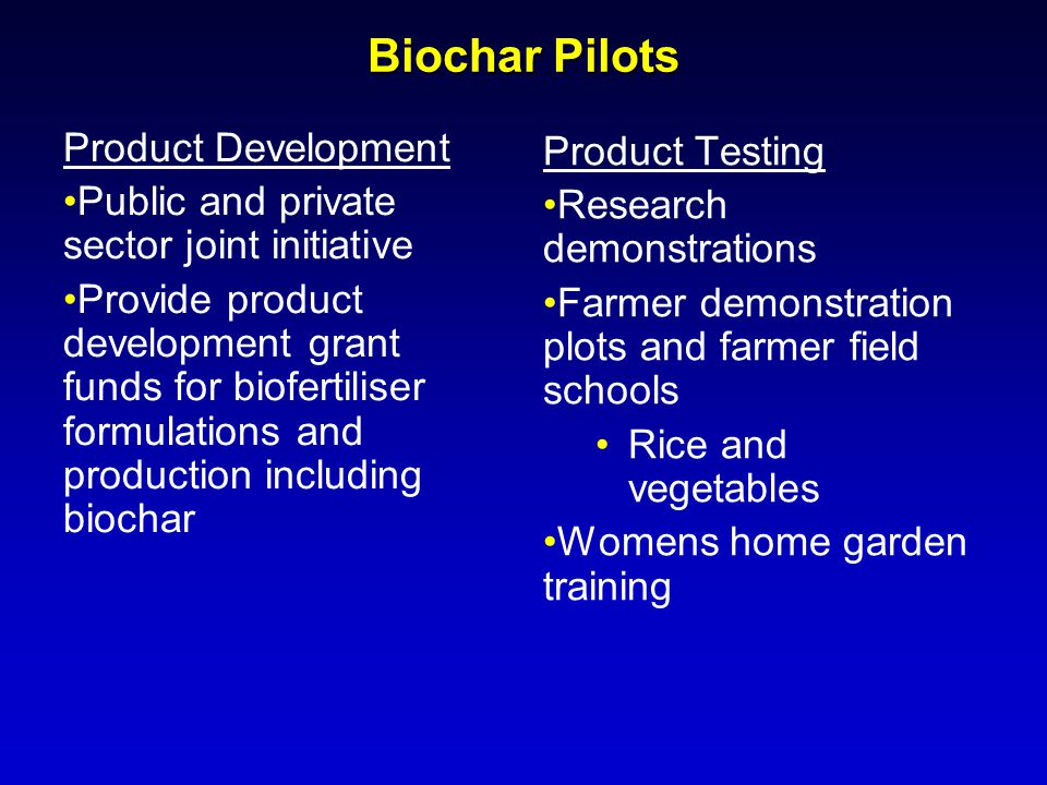 Biochar Pilots Product Development Product Testing