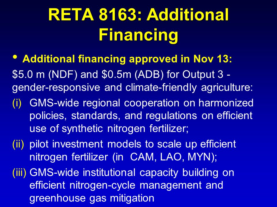 RETA 8163: Additional Financing