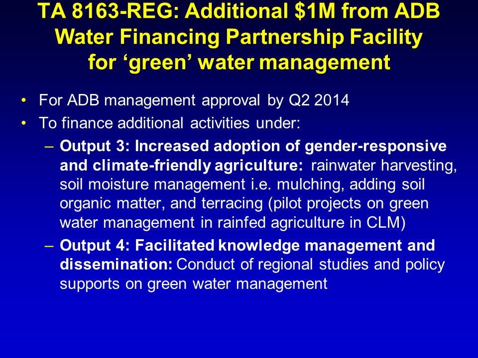 TA 8163-REG: Additional $1M from ADB Water Financing Partnership Facility for 'green' water management
