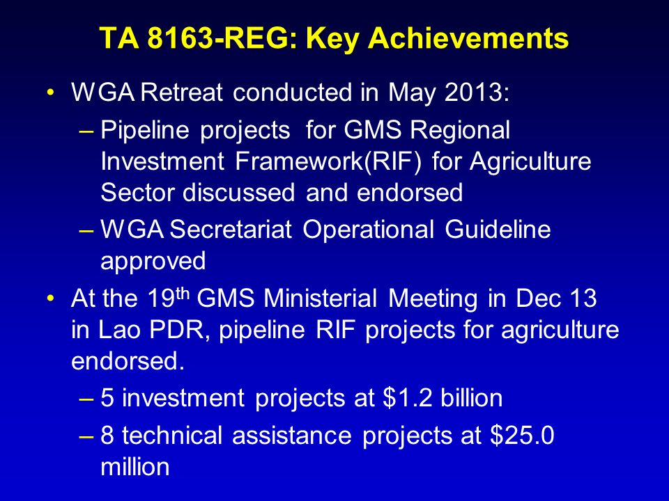 TA 8163-REG: Key Achievements
