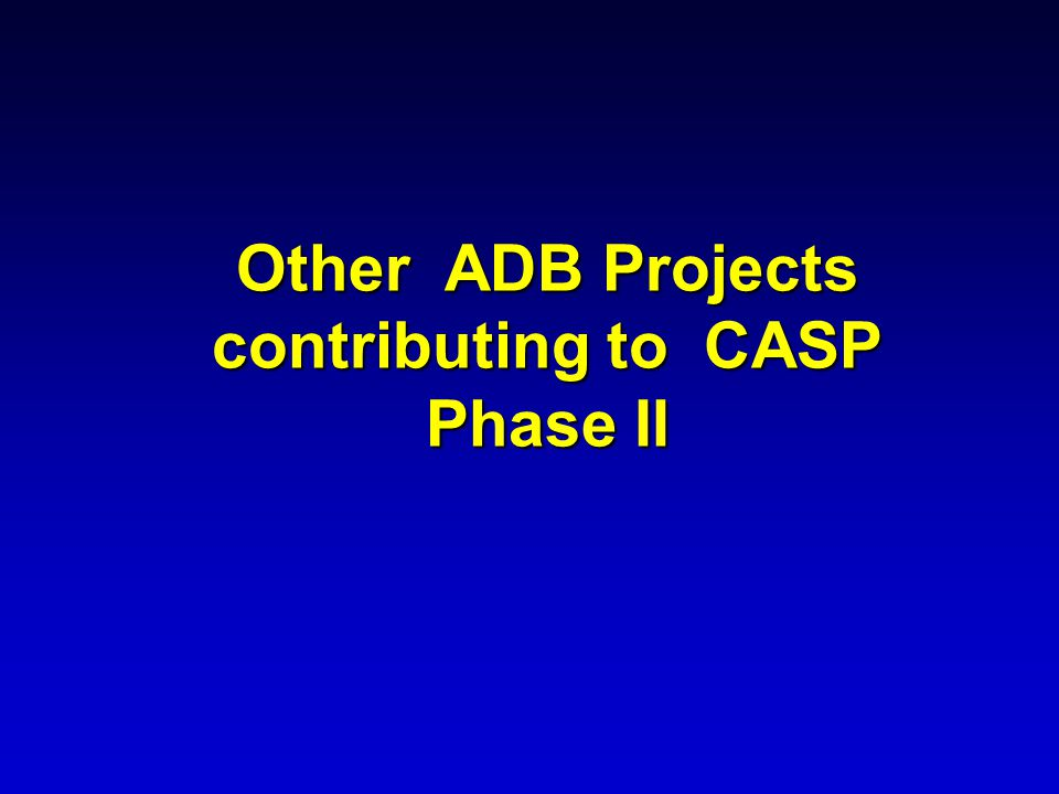 Other ADB Projects contributing to CASP Phase II
