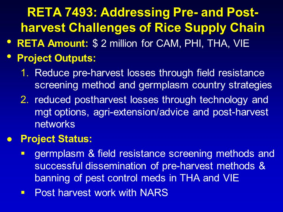 RETA 7493: Addressing Pre- and Post-harvest Challenges of Rice Supply Chain