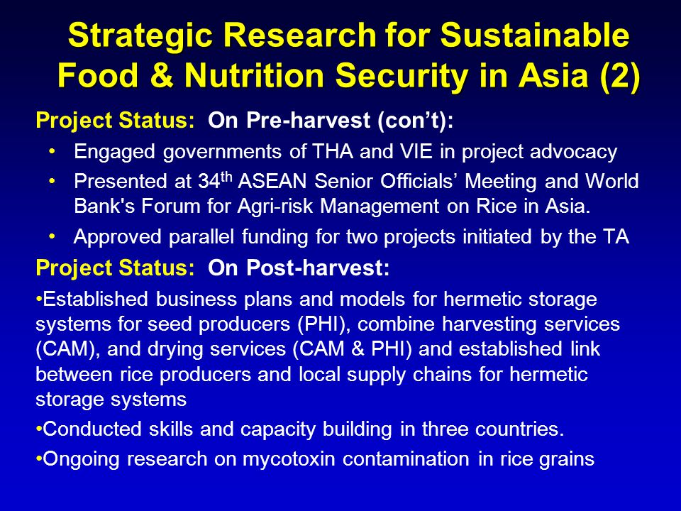Strategic Research for Sustainable Food & Nutrition Security in Asia (2)