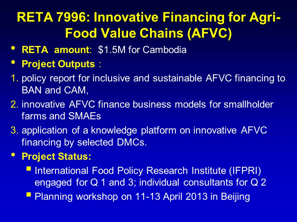 RETA 7996: Innovative Financing for Agri-Food Value Chains (AFVC)