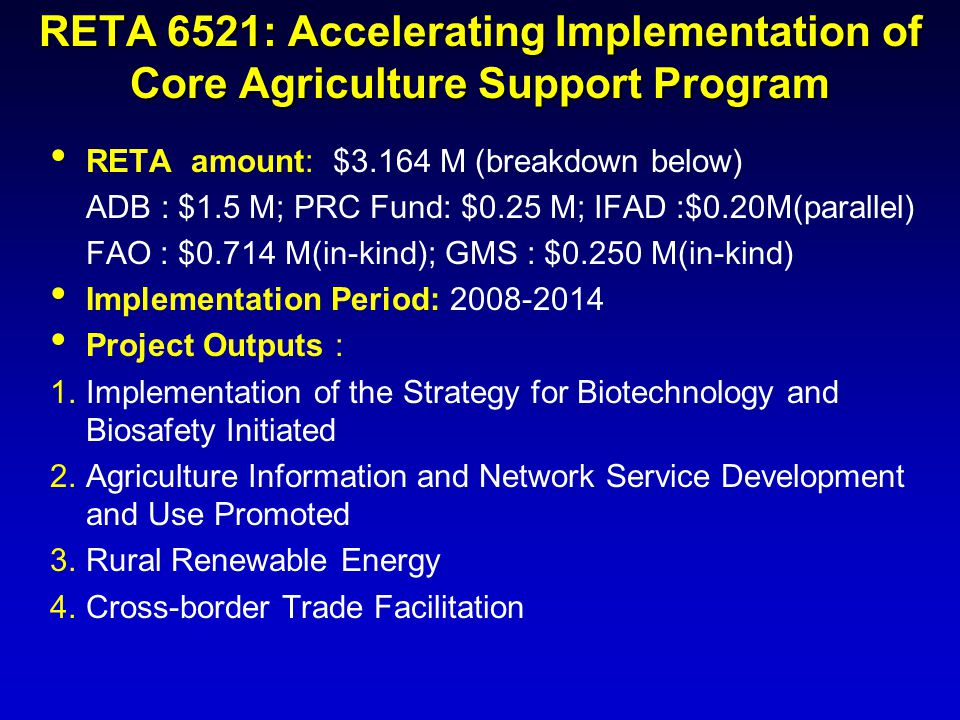 RETA 6521: Accelerating Implementation of Core Agriculture Support Program