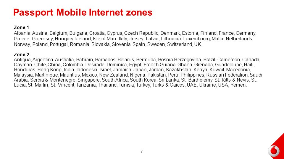 Passport Mobile Internet zones