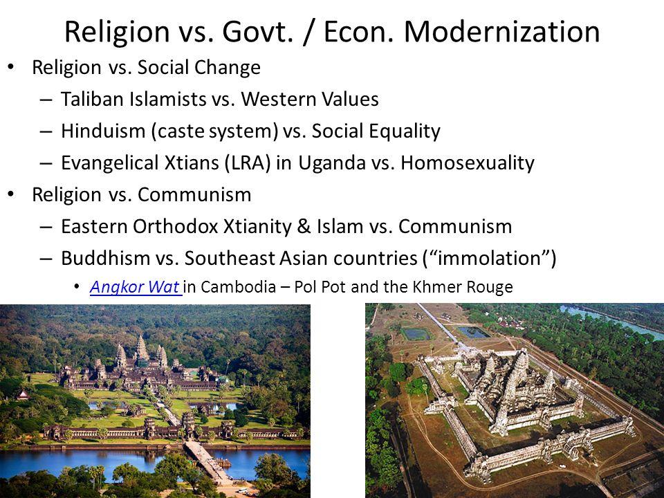Religion vs. Govt. / Econ. Modernization