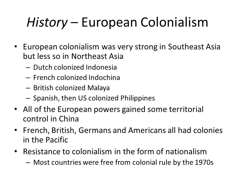 History – European Colonialism