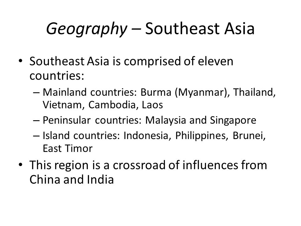 Geography – Southeast Asia