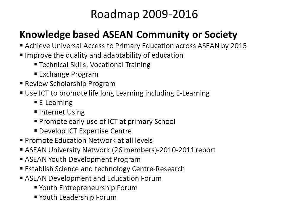 Roadmap 2009-2016 Knowledge based ASEAN Community or Society