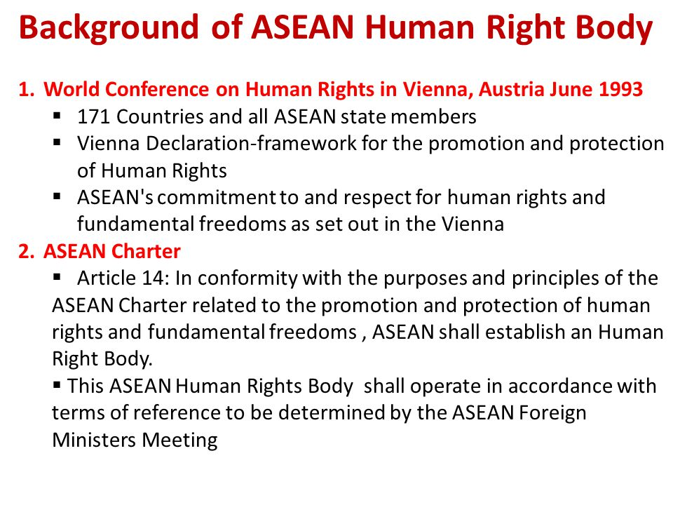 Background of ASEAN Human Right Body