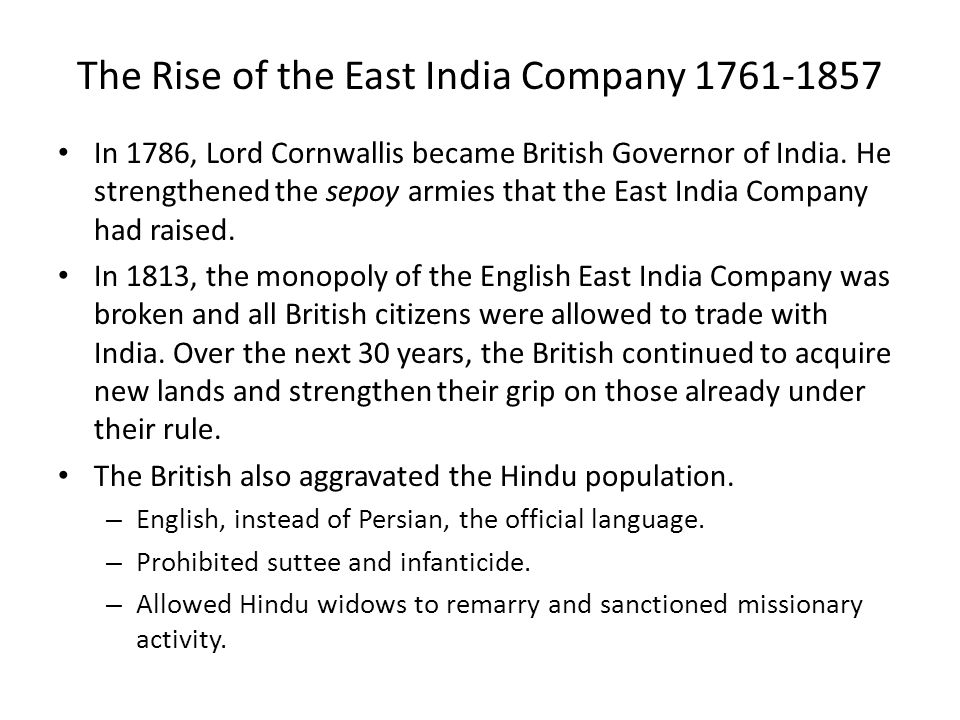 The Rise of the East India Company 1761-1857