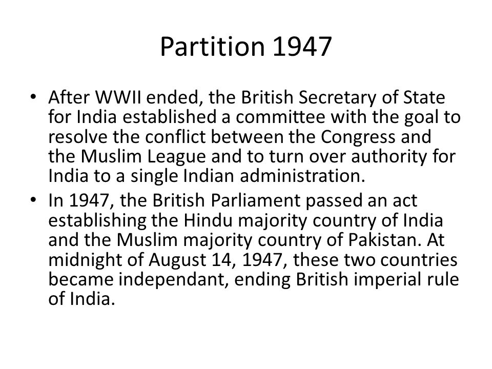 partition of india and congress committee Following gandhi's denial[81] but congress' approval of the plan, patel  represented india on the partition council, where he oversaw the division of  public.