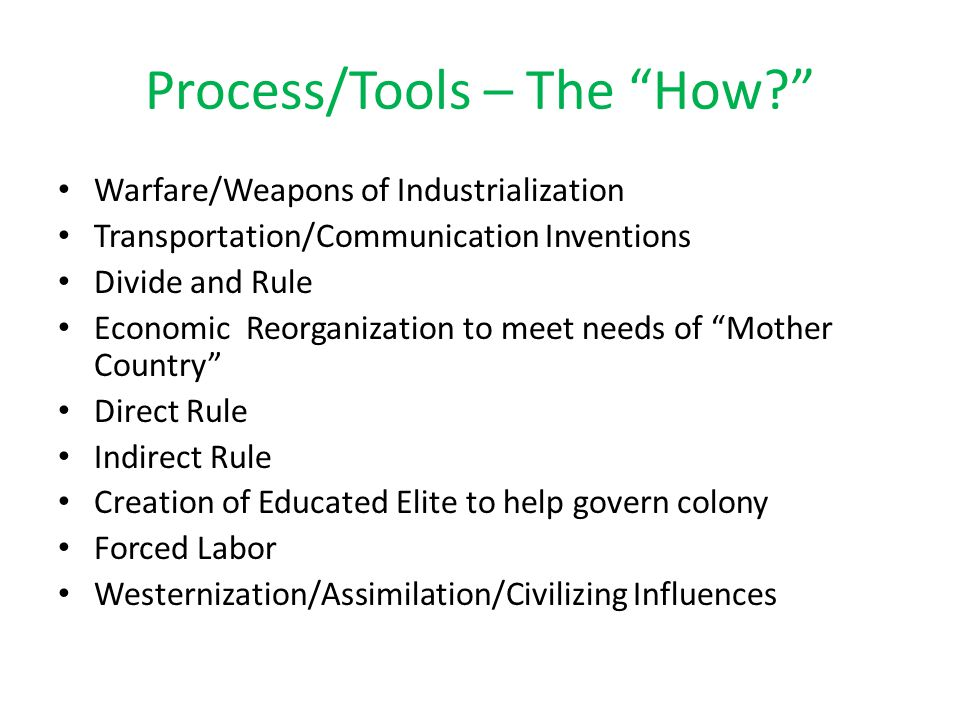 Process/Tools – The How